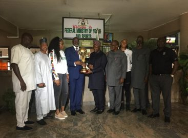 D'Tigress, NBBF Presents FIBA Afrobasket Trophy to Minister of Sports…Honourable Dare Sunday Promises More Support For NBBF